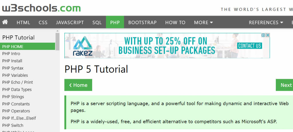 how to learn php online