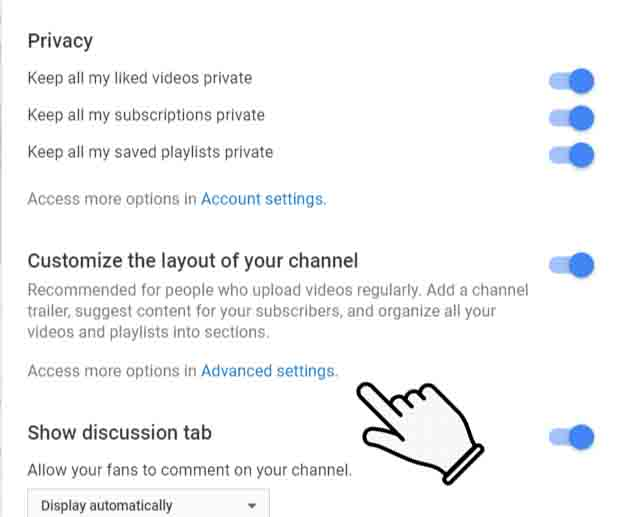 Advance settings of Youtube Channel
